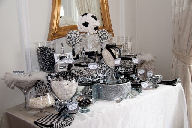Sweet amp sparkly wedding candy buffet pictures to pin on pinterest - Black And Silver Candy Buffet